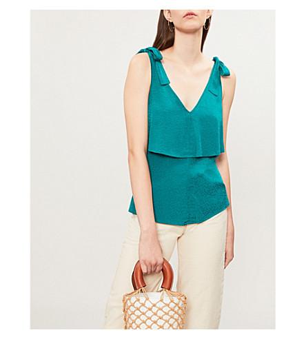WHISTLES Tie-shoulder polka dot-jacquard top (Green