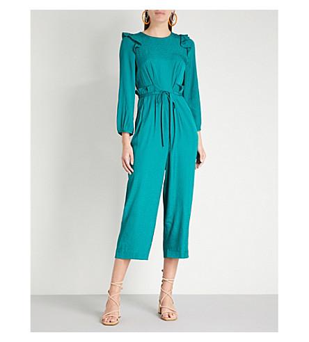 WHISTLES Britt ruffled polka-dot jacquard jumpsuit (Green