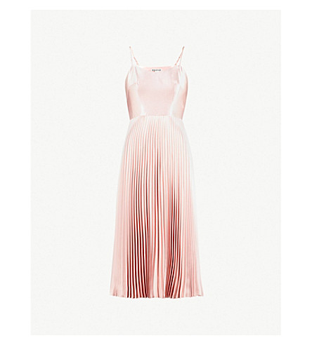WHISTLES 褶缎布连衣裙 (苍白 + 粉红色