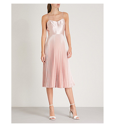 WHISTLES Pleated satin dress (Pale+pink