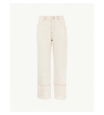 WHISTLES Gabi contrast-stitch wide-leg jeans (Cream