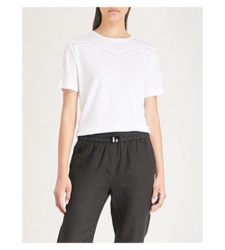 WHISTLES Lace-trimmed linen T-shirt (White