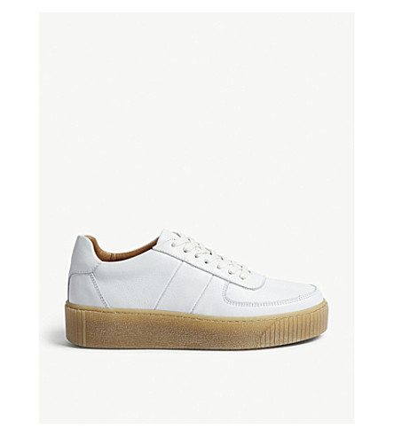 WHISTLES Abbey deep sole leather trainers (White