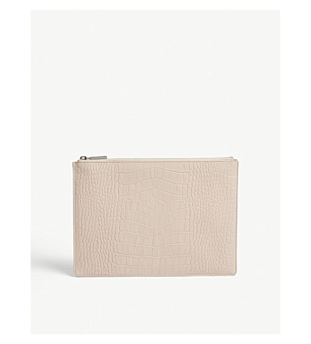 WHISTLES Croc-embossed medium leather clutch (Nude