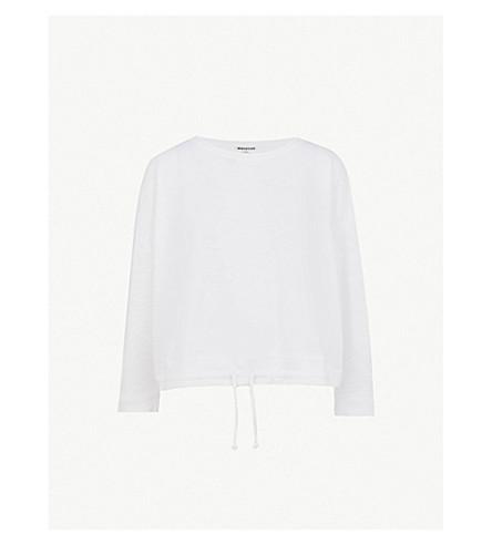 WHISTLES Gathered-hem cotton-jersey top (White