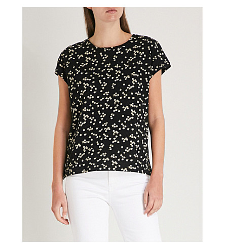 WHISTLES Daisy-print cotton-jersey T-shirt (Multi-coloured