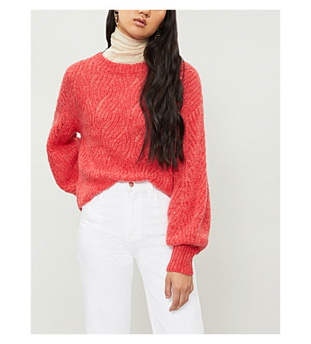 WHISTLES Sophia balloon-sleeve mohair and wool-blend sweater