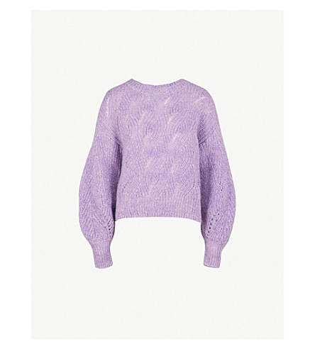 WHISTLES Sophia balloon-sleeve mohair and wool-blend jumper (Lilac