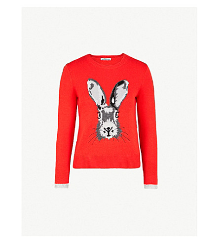 WHISTLES Bunny-intarsia wool and cashmere-blend jumper (Multicolour
