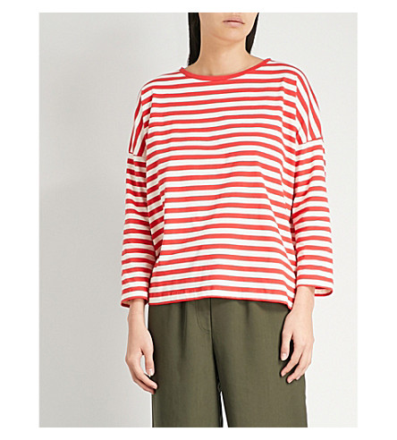 WHISTLES Striped cotton-jersey T-shirt (Multi-coloured