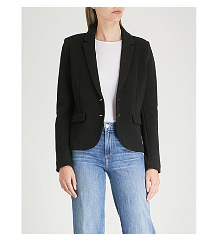WHISTLES Waffle-knit cotton jacket (Black