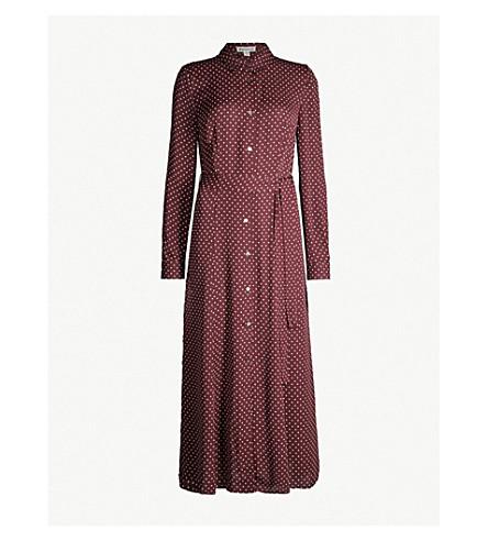 WHISTLES Margot polka dot-print crepe shirt dress (Burgundy
