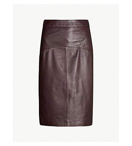 WHISTLES Kel high-waist leather pencil skirt (Plum/claret