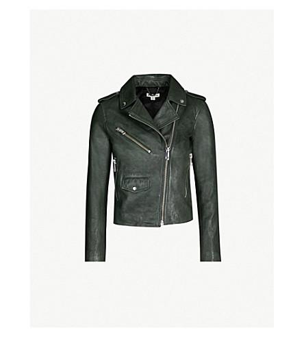 WHISTLES Agnes zipped leather biker jacket (Dark green