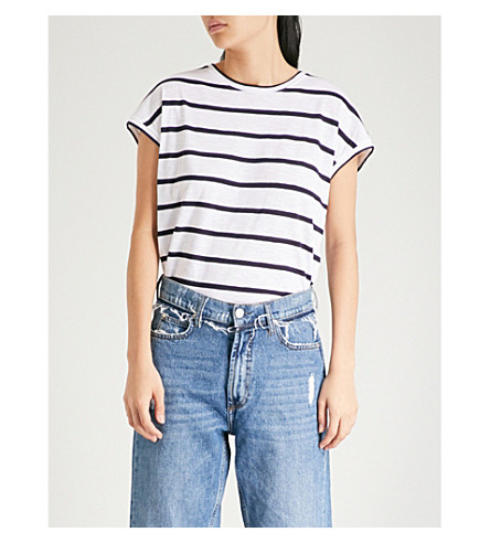 WHISTLES Striped cotton-jersey T-shirt