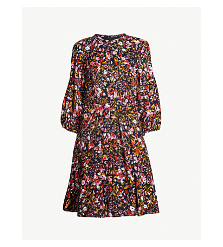 WHISTLES Floral Meadow crepe dress (Multi-coloured