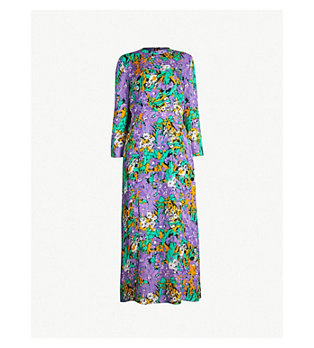 WHISTLES Floral-print silk midi dress (Multi-coloured