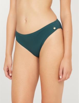 Textured high-rise bikini bottoms
