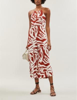 Zebra-print crepe jumpsuit