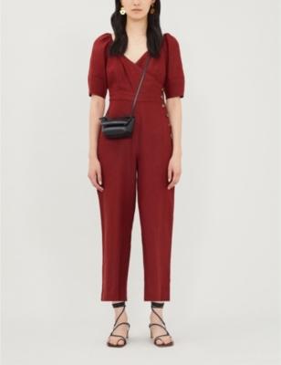 Eliza wrapover-front linen jumpsuit