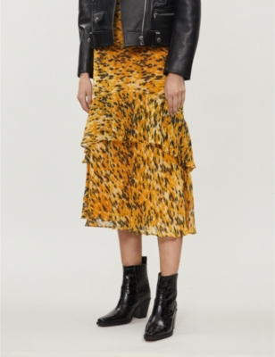 Ikat animal-print crepe midi skirt