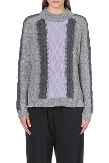 WHISTLES Akira colour-block cable knit jumper