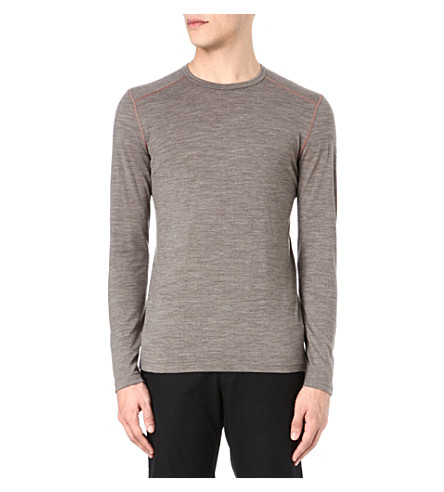ICEBREAKER Oasis 200 long-sleeved crew-neck top (Brown