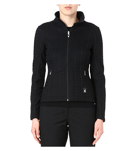 SPYDER Major cable-knit zip-up jacket (Black