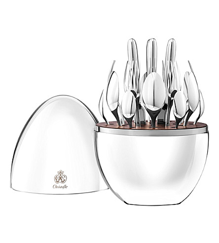 CHRISTOFLE MOOD silver-plated 24 piece cutlery set in decorative egg