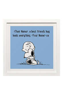 ART YOU GREW UP Best Friends Hug personalised print, blue framed