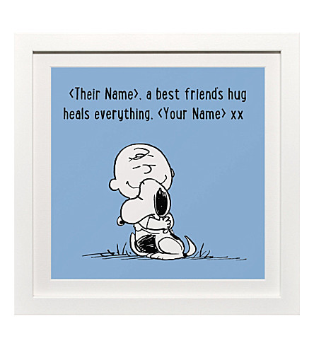 ART YOU GREW UP WITH Best Friends Hug personalised print, blue framed