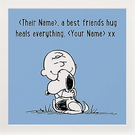 ART YOU GREW UP Best Friends Hug personalised print, blue unframed