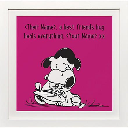 ART YOU GREW UP Best Friends Hug personalised print, pink framed