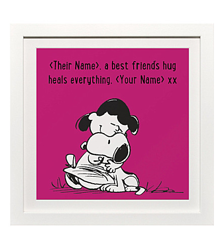 ART YOU GREW UP Best Friends Hug personalised print, pink framed