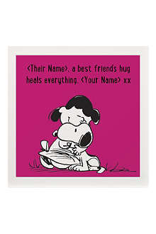 ART YOU GREW UP Best Friends Hug personalised print, pink unframed