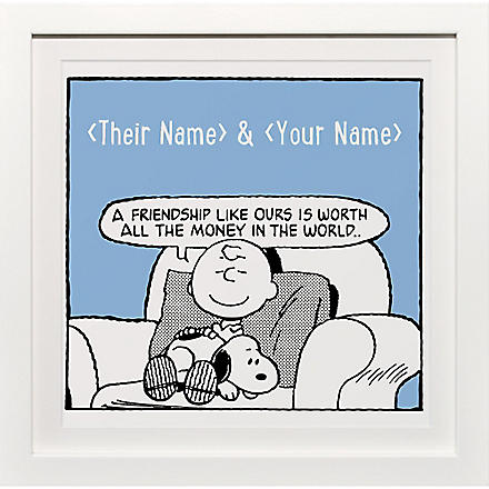 ART YOU GREW UP Friendship Like Ours personalised art print, blue framed