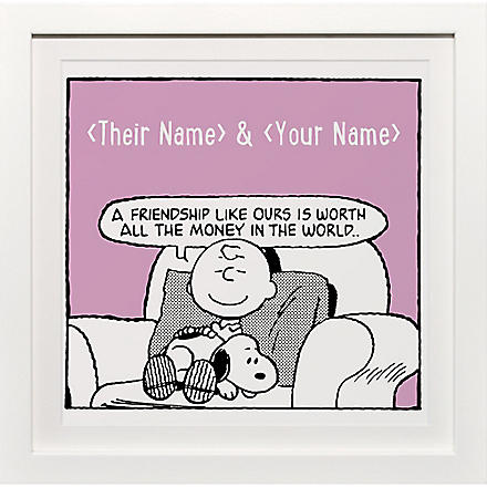 ART YOU GREW UP Friendship Like Ours personalised art print, pink framed