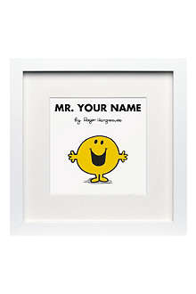 ART YOU GREW UP Mr. Happy personalised framed print