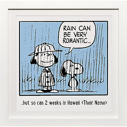 ART YOU GREW UP Rain Can Be Romantic personalised art print, blue framed