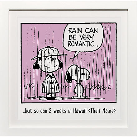 ART YOU GREW UP Rain Can Be Romantic personalised art print, pink framed