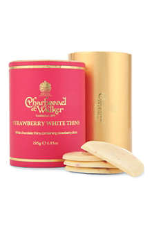 CHARBONNEL ET WALKER Strawberry white chocolate thins 195g