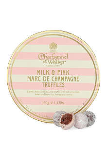 CHARBONNEL ET WALKER Milk and Pink Marc de Champagne truffles 650g