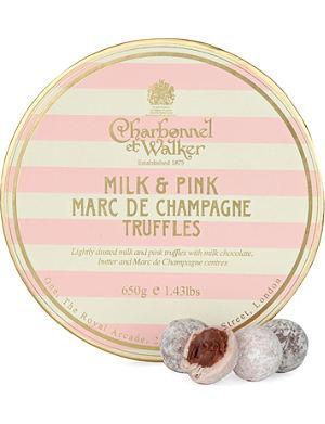 CHARBONNEL ET WALKER Milk and Pink Marc de Champagne truffles 650g