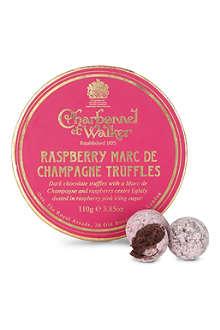 CHARBONNEL ET WALKER Raspberry Marc de Champagne truffles 110g