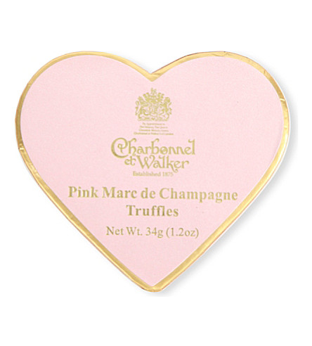 CHARBONNEL ET WALKER Pink champagne heart truffles 34g
