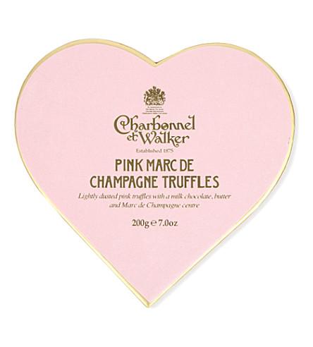 CHARBONNEL ET WALKER Pink Marc de Champagne heart truffles 100g