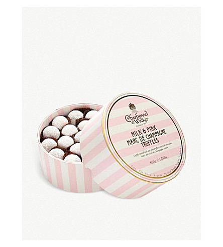 CHARBONNEL ET WALKER Pink and Milk Marc de Champagne Truffles 650g