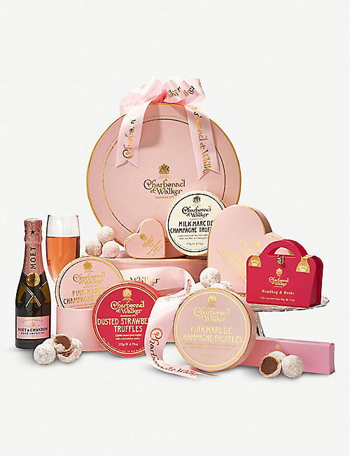 Luxury hampers wine spirit hampers selfridges charbonnel et walker pink celebration hamper negle Image collections