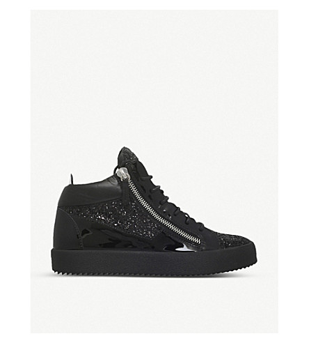 GIUSEPPE ZANOTTI Mid-top leather and glitter trainers (Black