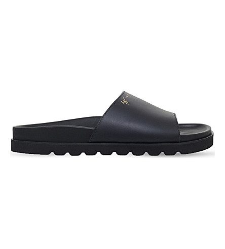 GIUSEPPE ZANOTTI Neil leather sliders (Black
